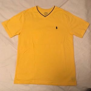 Ralph Lauren yellow V neck tee shirt